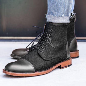 leather404 Clothing, Shoes & Accessories:Men's Shoes:Boots Black Leather Tweed Cap Toe Ankle Boot