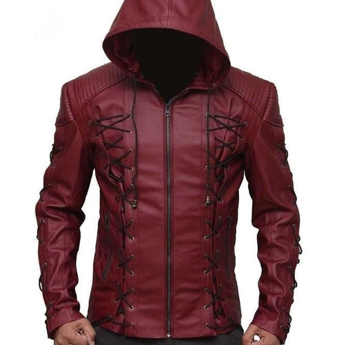 leather404 Clothing, Shoes & Accessories:Men's Clothing:Coats & Jackets s Hooded Arsenal Arrow Bolton Haynes Maroon Color Real Leather Jacket