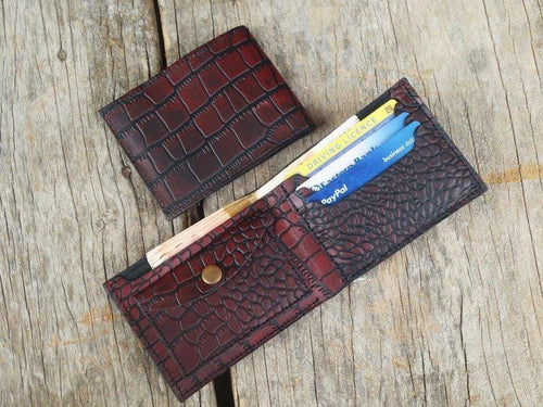 leather404 wallet Husband Gift, Boyfriend gift, Father gift, Men's leather bifold wallet, thin leather wallet, Traditional Alligator Texture Oxblood Wallet