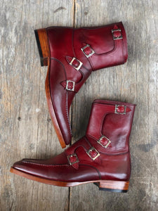 leather404 Clothing, Shoes & Accessories:Men's Shoes:Boots Burgundy Buckle Ankle boots for Mens