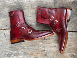 leather404 Clothing, Shoes & Accessories:Men's Shoes:Boots Handmade Burgundy Buckle boots For Men