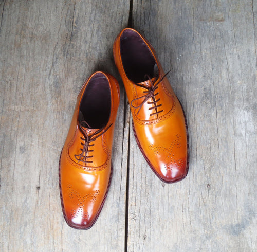 leather404 Clothing, Shoes & Accessories:Men's Shoes:Dress Shoes Men's Handmade Tan Dress Leather Shoes