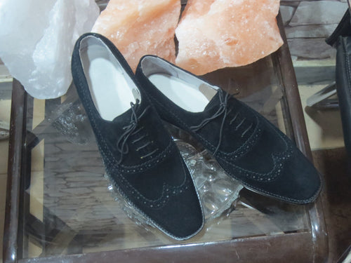 leather404 Clothing, Shoes & Accessories:Men's Shoes:Dress Shoes Suede Men's Black Color Wing Tip Brogue Shoes
