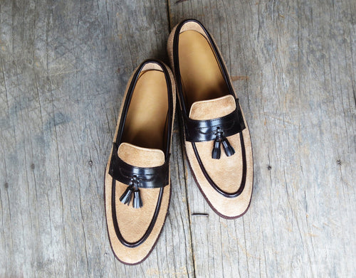 leather404 Clothing, Shoes & Accessories:Men's Shoes:Dress Shoes Beige Tussles Loafers Moccasin Shoes