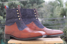 leather404 Clothing, Shoes & Accessories:Men's Shoes:Boots Ankle Brown & Blue Wing Tip Suede Leather Lace Up Men's Boot