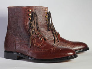 leather404 Clothing, Shoes & Accessories:Men's Shoes:Boots Ankle Maroon Wing Tip Pebbled Leather Lace Up Men's Boot
