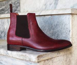 leather404 Clothing, Shoes & Accessories:Men's Shoes:Boots Chelsea Burgundy Leather Ankle Boots for Men's