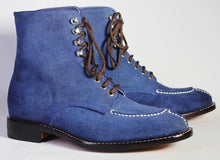 leather404 Clothing, Shoes & Accessories:Men's Shoes:Boots Ankle High Blue Split Toe Suede Lace Up Men's Boot