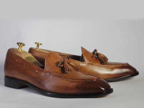 leather404 Clothing, Shoes & Accessories:Men's Shoes:Dress Shoes Men's Brown Leather Tussle Loafers For Men's