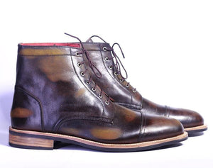 leather404 Clothing, Shoes & Accessories:Men's Shoes:Boots Ankle High Cap Toe Lace Up Boot For Men's