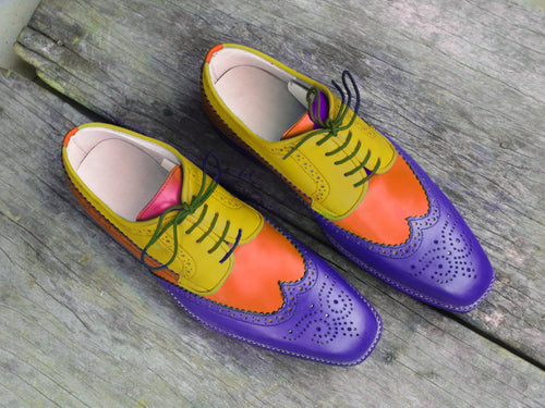 leather404 Clothing, Shoes & Accessories:Men's Shoes:Dress Shoes usa-7 Men's Multi Color Wing Tip Brogue Shoes Purple Tan Yellow
