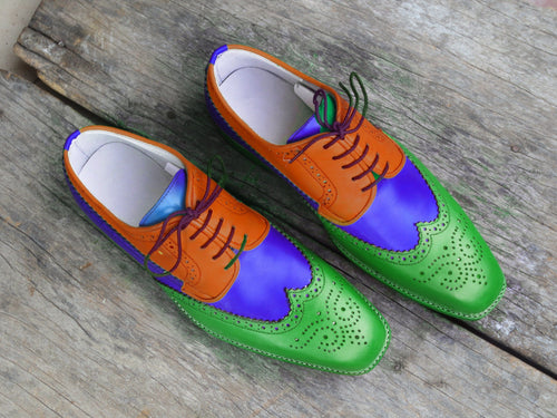 leather404 Clothing, Shoes & Accessories:Men's Shoes:Dress Shoes usa-7 Men's Multi Color Wing Tip Brogue Shoes Brown Blue Green