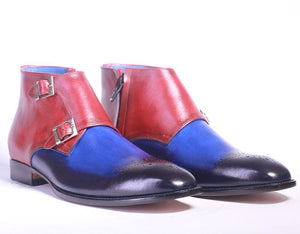 leather404 Clothing, Shoes & Accessories:Men's Shoes:Boots Half Ankle Double Monk Blue Burgundy Men's Boot