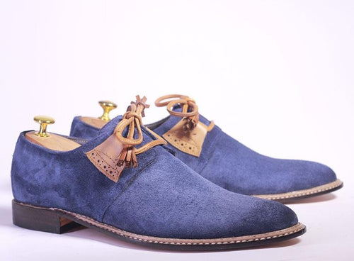 leather404 Clothing, Shoes & Accessories:Men's Shoes:Dress Shoes Handmade Blue Whole Cut Lace Up Suede Shoes