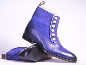 leather404 Clothing, Shoes & Accessories:Men's Shoes:Boots Ankle Tone Blue Button Top Leather Suede Men's Boot