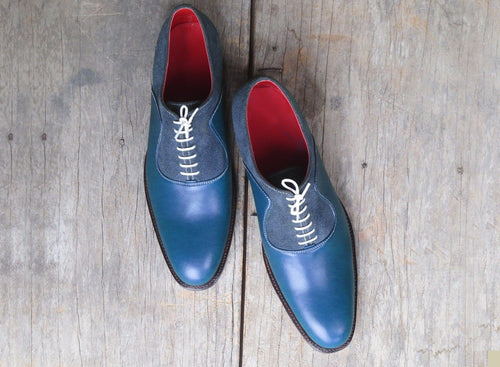 leather404 Clothing, Shoes & Accessories:Men's Shoes:Dress Shoes usa-7 Suede Leather Derby Formal, Men's Blue Lace Up Stylish Shoes