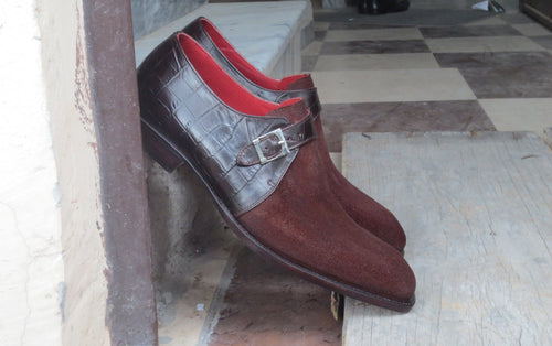 leather404 Clothing, Shoes & Accessories:Men's Shoes:Dress Shoes Men's Leather Alligator Suede Monk Burgundy Shoes
