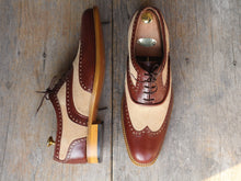leather404 Clothing, Shoes & Accessories:Men's Shoes:Dress Shoes Brown Beige Wing Tip Leather Suede Men's Shoes