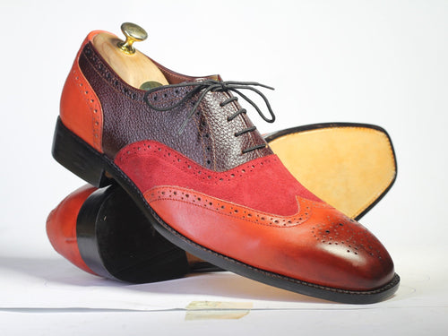 leather404 Clothing, Shoes & Accessories:Men's Shoes:Dress Shoes Multi Color Wing Tip Leather Suede Men's Shoes