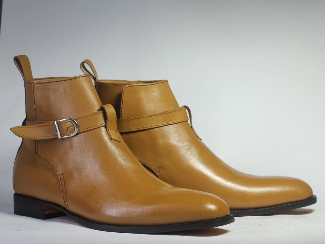 leather404 Clothing, Shoes & Accessories:Men's Shoes:Boots Handmade Ankle High Beige Jodhpurs Men's Boot