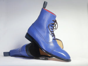 leather404 Clothing, Shoes & Accessories:Men's Shoes:Boots Handmade Ankle High Blue Cap Toe Lace Up Leather Men's Boot