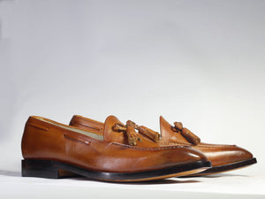 leather404 Clothing, Shoes & Accessories:Men's Shoes:Dress Shoes Brown Tussles Loafers Leather Shoes For Men's