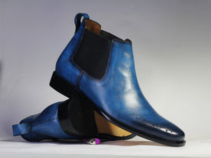 leather404 Clothing, Shoes & Accessories:Men's Shoes:Boots Blue Brogue Toe Chelsea Leather Boot For Men's