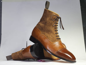 leather404 Clothing, Shoes & Accessories:Men's Shoes:Boots Ankle Brown Cap Toe Leather Suede Lace Up Men's Boot