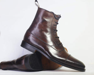 leather404 Clothing, Shoes & Accessories:Men's Shoes:Boots Handmade Dark Brown Cap Toe Ankle Lace up Boot For Men
