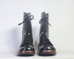 leather404 Clothing, Shoes & Accessories:Men's Shoes:Boots Ankle High Black Leather Lace Up Men's Boot