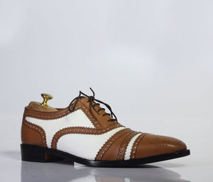 leather404 Clothing, Shoes & Accessories:Men's Shoes:Dress Shoes Handmade Brown & White Cap Toe Leather Men's Shoes