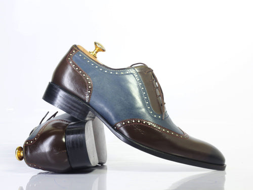 leather404 Clothing, Shoes & Accessories:Men's Shoes:Dress Shoes Handmade Gray & Brown Wing Tip Leather Men's Shoes