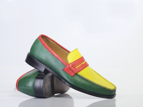 leather404 Clothing, Shoes & Accessories:Men's Shoes:Dress Shoes Multi Color Penny Loafers slip ons For Men's