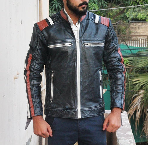 leather404 Clothing, Shoes & Accessories:Men's Clothing:Coats & Jackets Mens Retro Cafe Racer Biker Vintage Leather Jacket for men