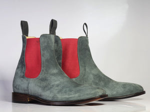 leather404 Clothing, Shoes & Accessories:Men's Shoes:Boots Handmade Gray Chelsea Suede Boot For Men's