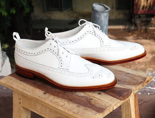 leather404 Clothing, Shoes & Accessories:Men's Shoes:Dress Shoes White Wing Tip Brogue Formal Dress Shoes For Men's