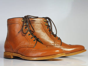 leather404 Clothing, Shoes & Accessories:Men's Shoes:Boots Handmade Ankle Tan Wing Tip Leather Lace Up Men's Boot
