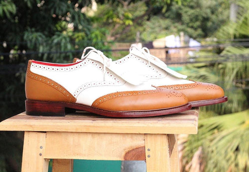 leather404 Clothing, Shoes & Accessories:Men's Shoes:Dress Shoes Handmade Tan & White Leather Fringe Shoes Men