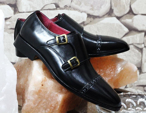 leather404 Clothing, Shoes & Accessories:Men's Shoes:Dress Shoes Black Oxfords Cap Toe Double Monk Dress Shoes