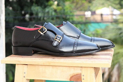 leather404 Clothing, Shoes & Accessories:Men's Shoes:Dress Shoes Black Monk Leather shoes