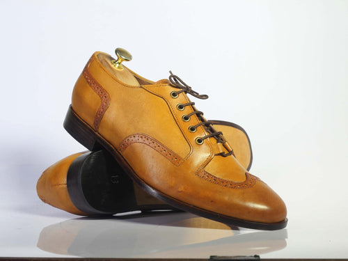 leather404 Clothing, Shoes & Accessories:Men's Shoes:Dress Shoes Handmade Tan Wing Tip Lace Up Leather Men's Shoes