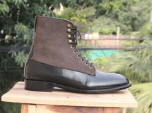 leather404 Clothing, Shoes & Accessories:Men's Shoes:Boots Black Two Tone Leather ankle boots
