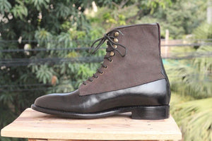 leather404 Clothing, Shoes & Accessories:Men's Shoes:Boots Black Two Tone ankle boots