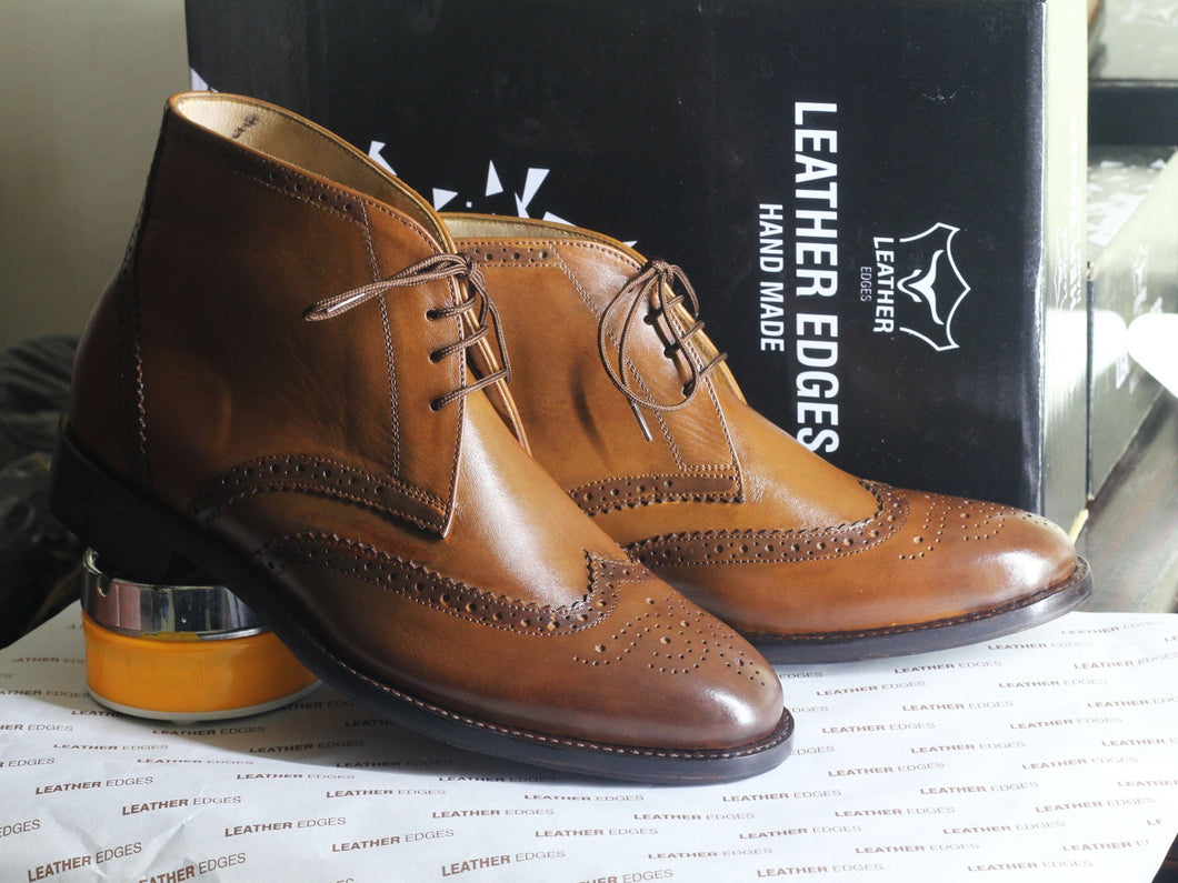 leather404 Clothing, Shoes & Accessories:Men's Shoes:Boots Ankle Brown Wing Tip Leather Lace Up Men's Boot