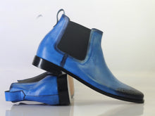 leather404 Clothing, Shoes & Accessories:Men's Shoes:Boots Handmade Ankle High Blue Chelsea Leather Boot For Men's