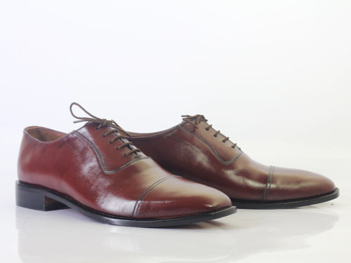 leather404 Clothing, Shoes & Accessories:Men's Shoes:Dress Shoes Burgundy Cap Toe Leather Shoes For Men's