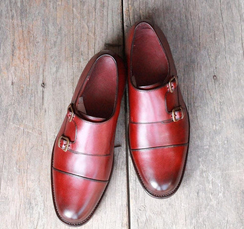 leather404 Clothing, Shoes & Accessories:Men's Shoes:Dress Shoes Maroon Monk Shoes