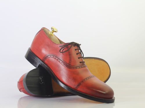 leather404 Clothing, Shoes & Accessories:Men's Shoes:Dress Shoes Men's Burgundy Cap Toe Leather Lace UP Shoes