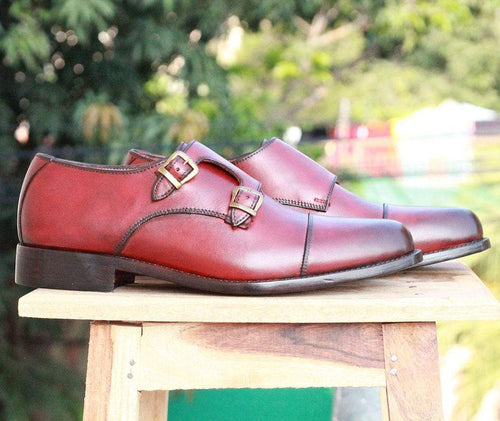 leather404 Clothing, Shoes & Accessories:Men's Shoes:Dress Shoes Men Maroon Monk Dress Shoes