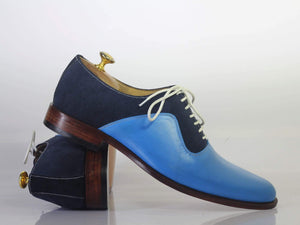 leather404 Clothing, Shoes & Accessories:Men's Shoes:Dress Shoes Blue Leather Suede Lace Up Men's Shoes